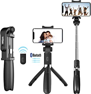 Lightweight Portable Phone Selfie Stick Tripod, Removable Wireless Remote Bluetooth Video Selfie Stick, Mini Handheld Selfie Stick with Extendable Tripod Stand for iPhone, Samsung, Huawei,LG, More