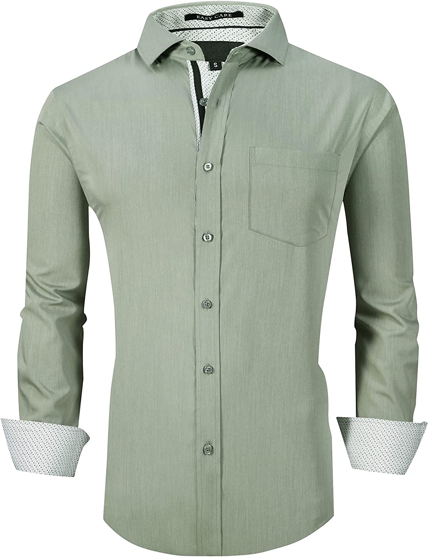 Damipow Mens Dress Shirts Wrinkle Free Bamboo Fiber Long Sleeve Casual Button Down Shirt…