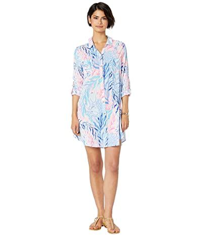 Lilly Pulitzer Natalie Cover-Up (Crew Blue Tint Kaleidoscope Coral) Women