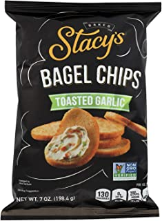 STACY'S PITA CHIPS, Bagel Chips,Toasted Garlic, Pack of 12, Size 7 OZ - No Artificial Ingredients GMO Free