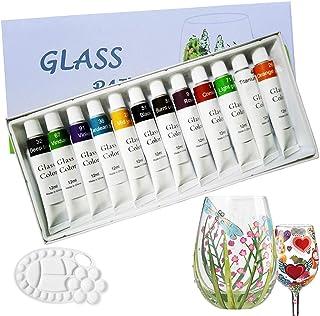 Magicdo 12 colores pinturas de vidrio con paleta, pintura no tóxica de calidad profesional para vidrio, juego de pintura d...