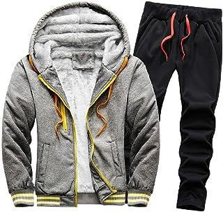 HEFASDM Men's Fleece Thicken Warm 2 Piece Set Plus Size Hoodie & Pants Set