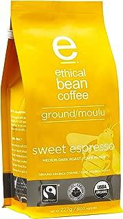 Ethical Bean Fair Trade Organic Coffee, Sweet Espresso Medium Dark Roast, Ground Espresso Coffee - 8oz (227g) Bag