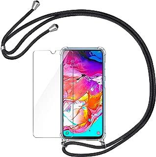 AROYI Handykette Handyhülle + Panzerglas Schutzfolie für Samsung Galaxy A70 Hülle mit Kordel zum Umhängen Necklace Hülle mit Band Schutzhülle Transparent Silikon Acryl Case für Samsung Galaxy A70