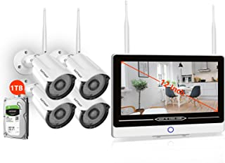 [8CH Expandable] 1080P Full HD Wireless Security Camera System with Monitor and 1TB Hard Drive,SAFEVANT Home Surveillance Systems 4PCS 2MP Outdoor Indoor IP Cameras with Night Vision Motion Detection