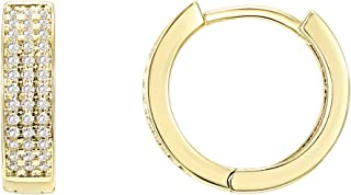 14K Gold Plated Cubic Zirconia Huggie Small Hoop Earrings | Stud Earrings for Women