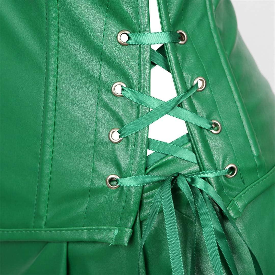Womens Punk Rock Faux Leather Corset with Skirt Retro Goth Waist Cincher Basque Bustier