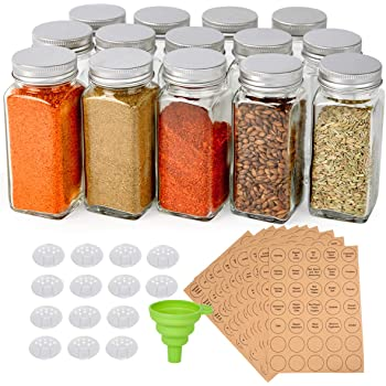 SXUDA 24-Pack 4 Ounce Square Spice Bottles with 350 Spice Labels Silicone Collapsible Funnel Included Glass Spice Jars with Shaker Lids and Airtight Metal Caps