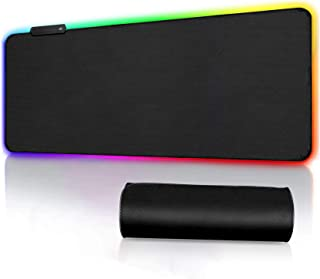 Alfombrilla de Ratón RGB Extra Grande, Ordenador Extended XXL Alfombrilla Gaming de Microfibras con Luces, Base de Goma An...