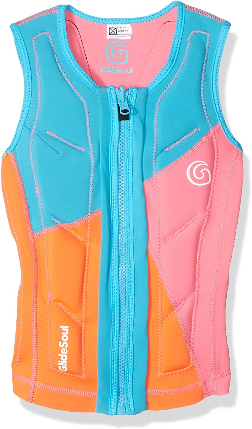 Glidesoul Women's Flashback 74 Collection Reversible Impact Vest, Peach Pink Light bluee, Small