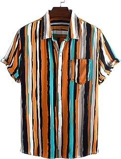 Camisas de Manga Corta para Hombre Camisas de Manga Corta a Rayas Informales de Moda de Verano Camisas Estampadas con Pers...