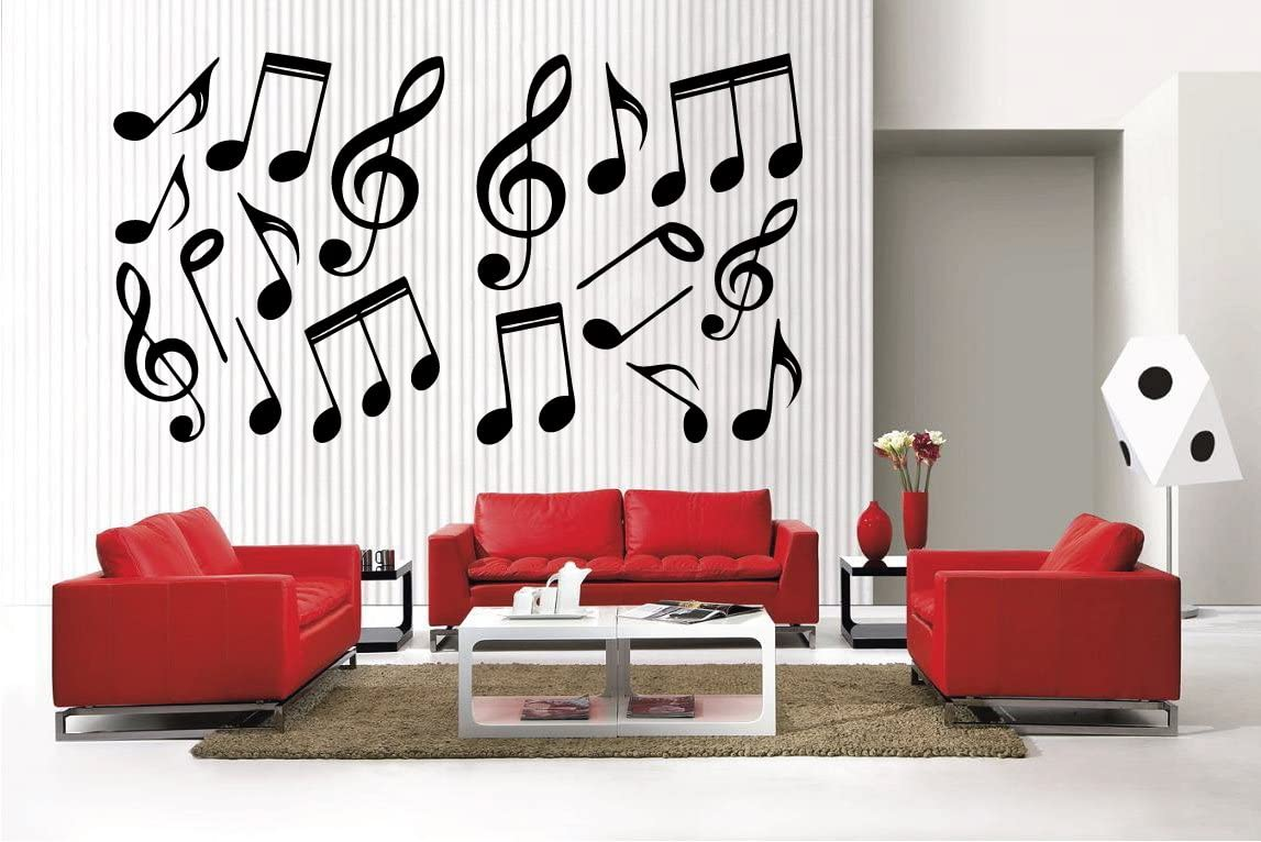 Newclew 42 Music Notes and Oakland Mall Symbols Deluxe Removable Vinyl Decal Wall Ho