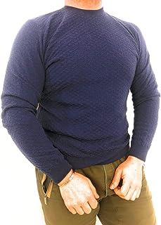 49a47f15fbde ferrante ,Pullover Uomo, Girocollo, 90% Lana 10% Cashmere, Blu