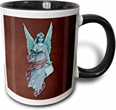 """3dRose mug_53907_4""""Angel in blue robe with purple sash and blue wings on a plum background and pink line accents"""" Two Tone Black Mug, 11 oz, Multicolor"""