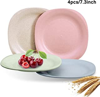 """Wheat Straw Plastic Plates Dinnerware Set/Reusable-Unbreakable Dinner Plate/Eco Friendly-Dishwasher & Microwave Safe, BPA Free And Healthy Cereal Dishes/Kids-toddler & Adult (Square 7.3"""" x 4pc)"""