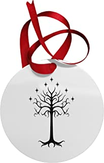 TOOLOUD The Royal White Tree Circular Metal Christmas Ornament