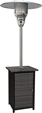 Hanover HANHT020BRWCK Table-41,000 BTU Efficient Power, Propane Outdoor 7 ft Modern Steel Umbrella Patio Heater with Table, Wicker/Stainless