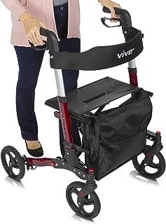 Vive Folding Rollator Walker - 4 Wheel Medical Rolling Walker with Seat & Bag - Mobility Aid for Adult, Senior, Elderly & Handicap - Aluminum Transport Chair (Red)