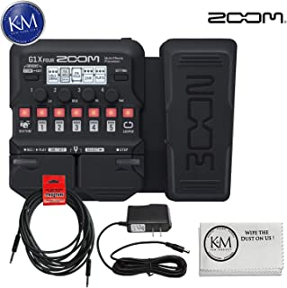 Zoom G1X Four Guitar MultiEffects Processor with Expression Pedal + (1) 20ft Instrument Cable + (1) 9V Power Supply + K&M Cloth