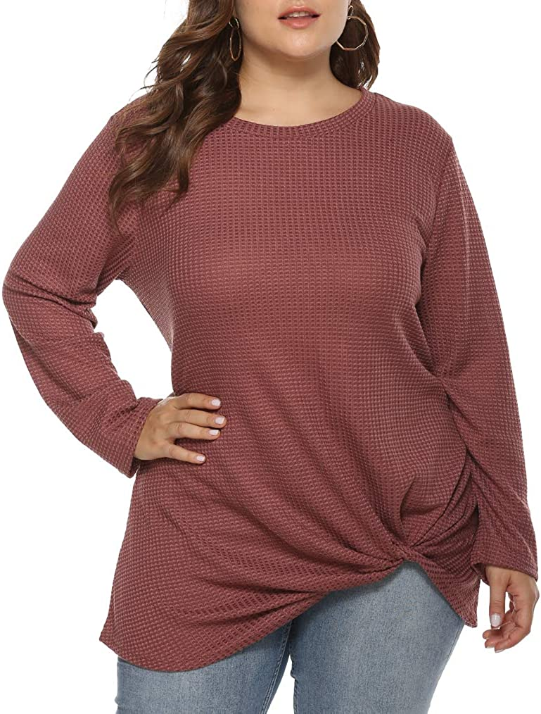 Feager Women's Plus Size Long Sleeve Casual Loose Tunic Tops Basic T-Shirt Blouses