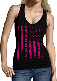 Pink Ribbon American Flag Breast Cancer Junior's Tank Top