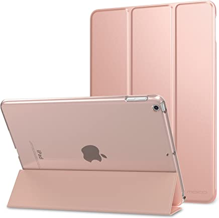 MoKo Case Fit 2018/2017 iPad 9.7 5th / 6th Generation - Slim Lightweight Smart Shell Stand Cover with Translucent Frosted Back Protector Fit Apple iPad 9.7 Inch 2018/2017, Rose Gold(Auto Wake/Sleep)