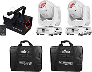 2) Chauvet Intimidator Spot 360 IRC White 100w LED Moving Heads+2) Cases+Fogger