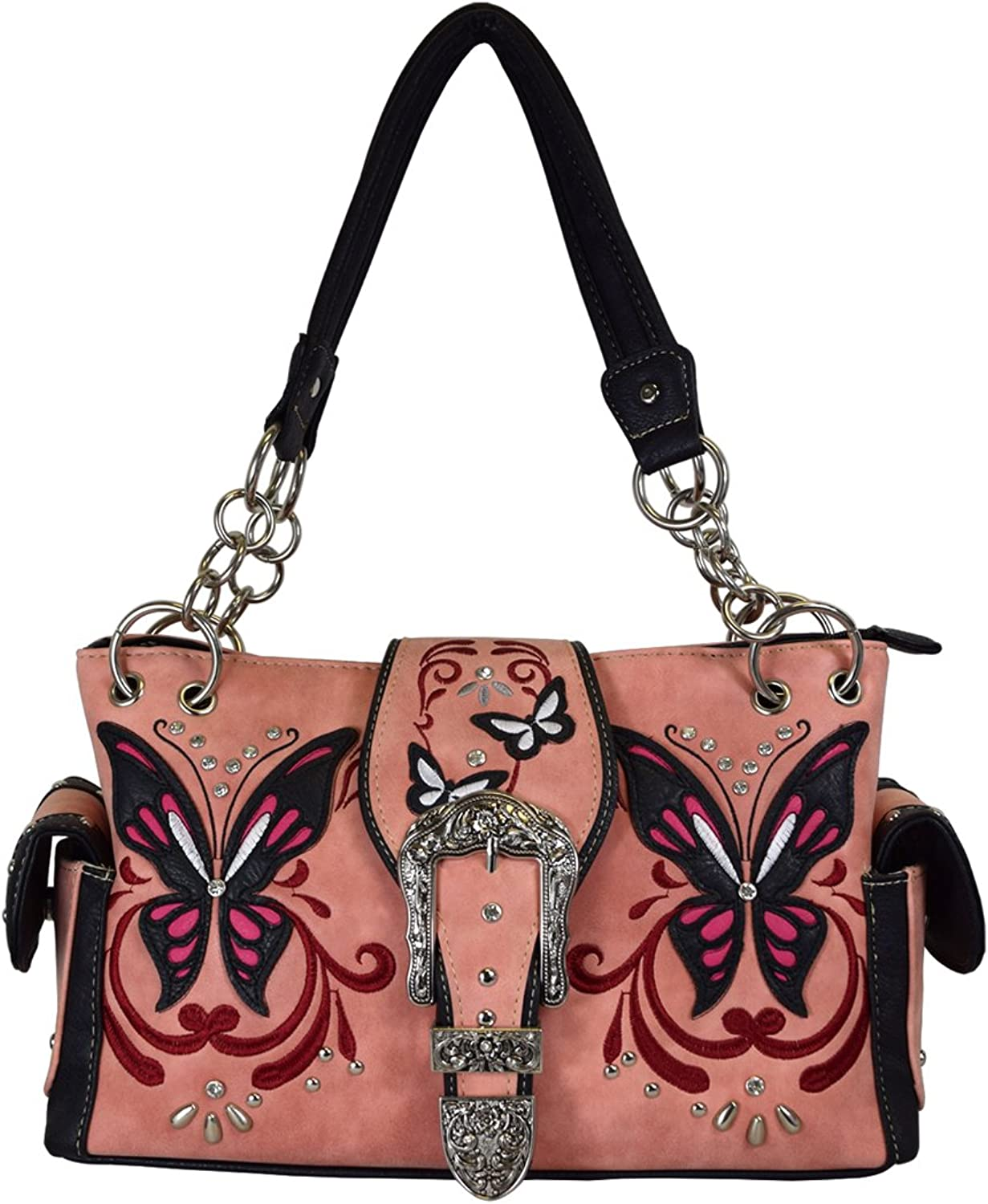 Western Buckle Butterfly Rhinestone Shoulder Bag Women's Top Handle Totes Handbags