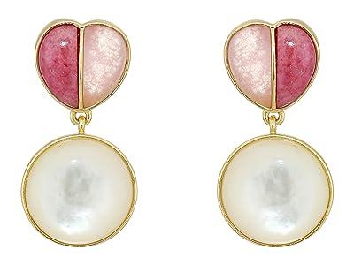 SOLE / SOCIETY Split Heart Post Earrings (12K Soft Polish Gold/Pink Aventurine/Spurite/Ivory Pearl) Earring