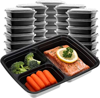 Meal Prep Containers Microwave Freezer Safe, Food Storage Containers Meal Prep, Plastic Food Prep Lunch Containers With Lid, Bento Box, by SEWTCO 3 compartments (black, 3 compartments 32oz, 24 pack)