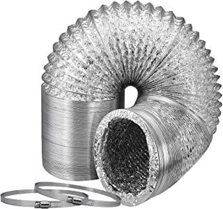 VIVOSUN 6 Inch 8 Feet Non-insulated Flex Air Aluminum Ducting for Ventilation w/ 2pcs 6 Inch Stainless Steel Clamps