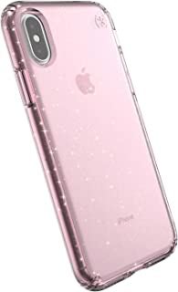 Speck Products Compatible Phone Case for Apple iPhone XS/iPhone X, PRESIDIO CLEAR + GLITTER Case, Bella Pink with Gold Glitter/Bella Pink