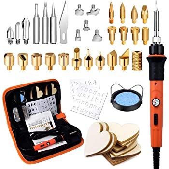 45pcs Kit Pirograbador de Madera,Preciva Kit Pirograbdores Electrico 60W Temperatura Regulable entre 220° C y 480° C, Soldador Pirografo Profesional para Madera, Cuero, Grabado