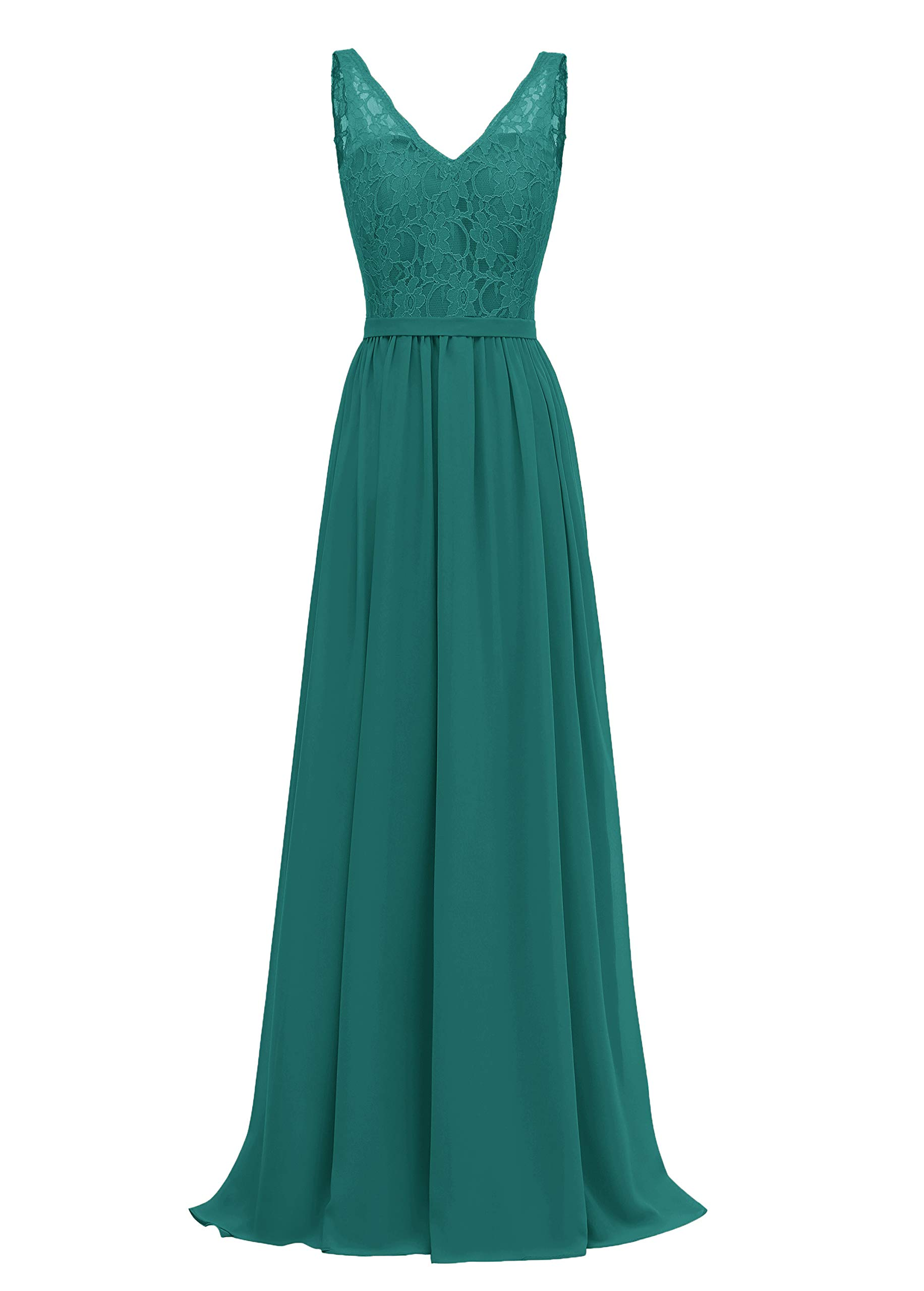 Available at Amazon: Zhongde Women's A-Line V-Neck Bridesmaid Dress Long Evening Gown Lace Bodice