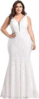 Women's Plus Size V-Neck Floral Lace Evening Party Mermaid Dress 8838PZ