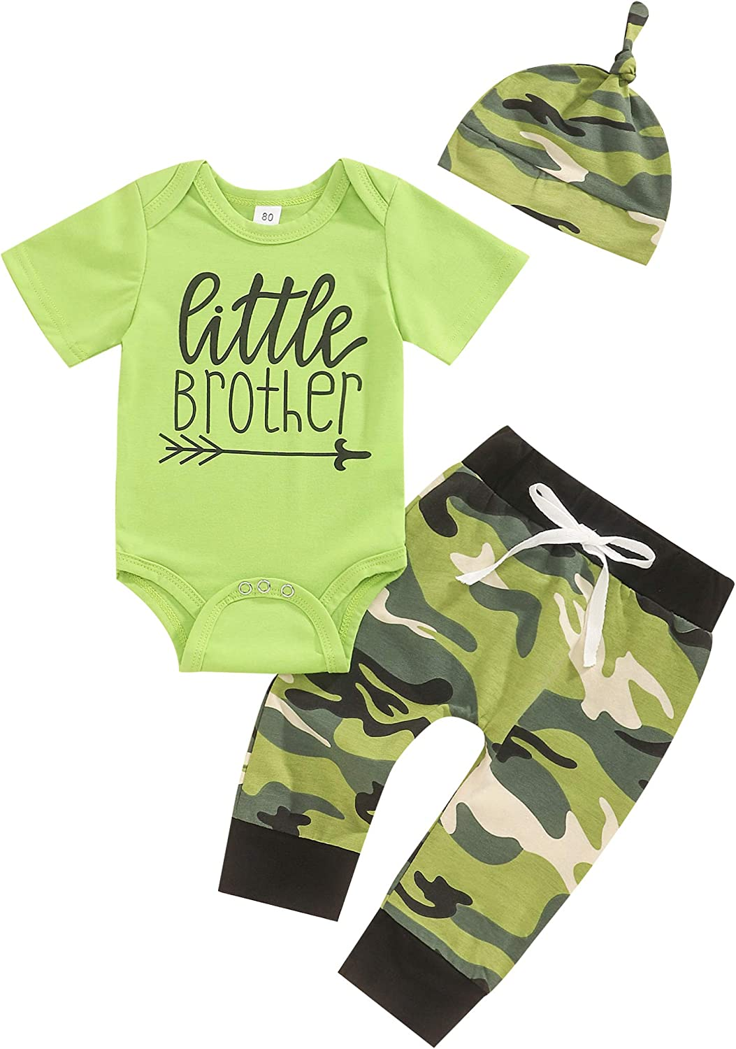 Newborn Baby Boy Clothes Funny Letter Short Sleeve Romper Top and Pants with Hat 3Pcs Summer Outfits Set