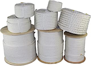 SGT KNOTS Twisted Polyester Rope (1/4 inch - 2 inch) White - Low Stretch - Moisture, UV, Rot, Oil, Chemical Resistant - Rigging, Winching, String Line, Tree, Pull, Truck Rope (10 ft - 1200 ft)