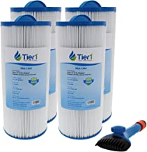 Tier1 Jacuzzi J300 6541-383, Pleatco PJW60TL-OT-F2S, Filbur FC-2715, Unicel 6CH-961 Comparable Replacement Spa Filter 4-Pack Bundle with Tier1 Wand Brush Filter Cleaner