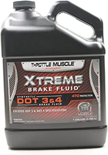 Throttle Muscle TM3463 - Xtreme Synthetic Dot 3 / Dot 4 On and Off Road Extreme Race Performance Brake Fluid 1 Gallon