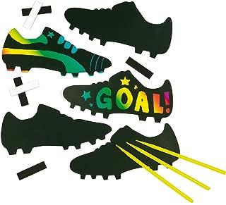 Baker Ross Ltd Soccer Boot Scratch Art Magnets (Pack of 10) for Children's Design Crafts