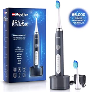 Mueller Sonic Rechargeable Electric Toothbrush with Dentist Recommended CrossClean Technology, Replacement Brush Heads, 5 Modes, IPX7 Fully Waterproof, Built-in Auto Timer 3D Cleaning Action (Grey)