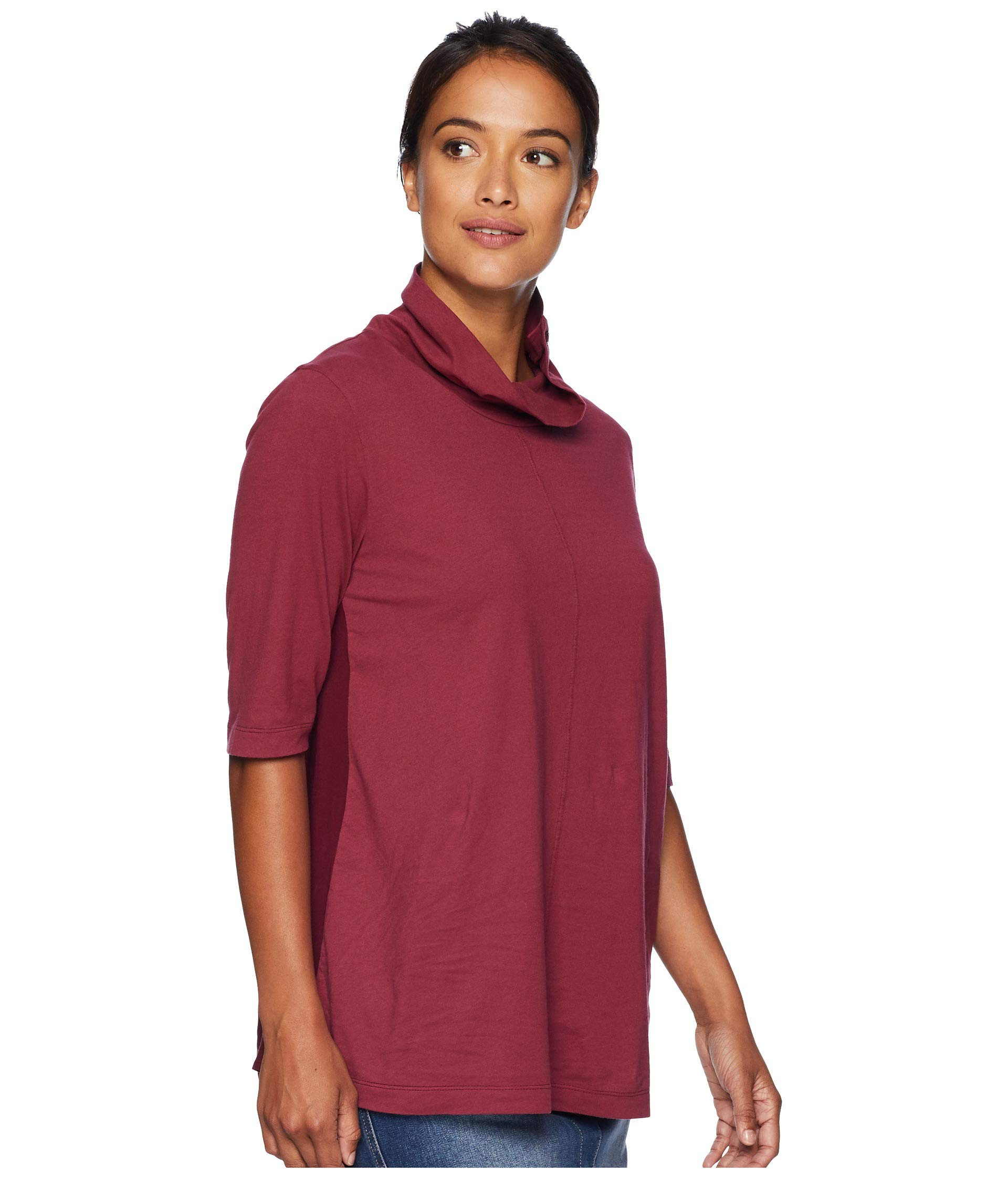 o Tee Elbow Back Pleated Sleeve With Neck Jersey Cranberry Classic doc Mod Button dqZ8d4