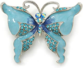 Avalaya Sky Blue Enamel Crystal Butterfly Brooch In Rhodium Plating - 50mm W