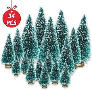 LoveInUSA 34Pcs Mini Sisal Snow Frost Trees Bottle Brush Trees 5 Sizes Christmas DIY Decoration Decor Home Table Top Decoration Diorama Models