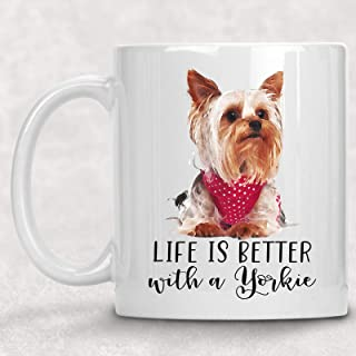 Life is Better with a Yorkie Watercolor Mug Dog Lover Coffee Cup