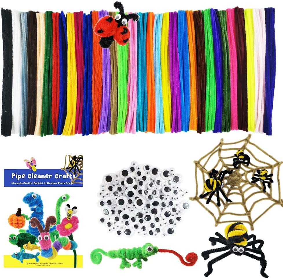 Mecando 470 Pcs Pipe Cleaners Craft Supplies 32 Colors 320 Pcs Chenille Stems Glitter 150pcs Wiggle Googly Eyes for Kids DIY Crafting Arts Projects Decorations for Easter