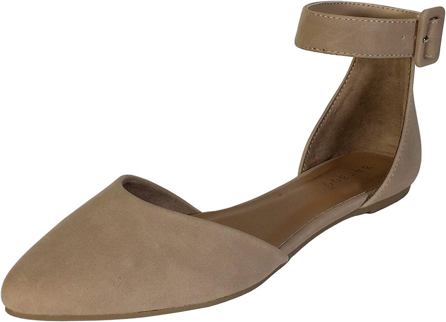 Bamboo Women's Almond Toe Skimmer with Ankle Strap