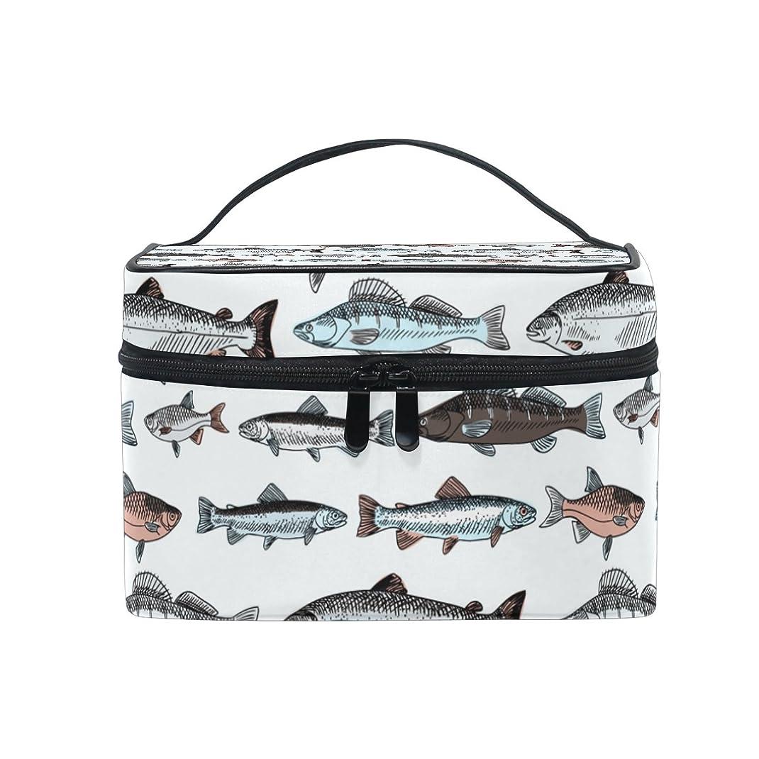 寝る海藻ゆるいALAZA 化粧ポーチ 魚柄 さかな柄 化粧 メイクボックス 収納用品 ホワイト 大きめ かわいい