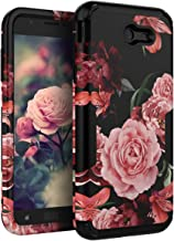 TIANLI Samsung Galaxy J7 2017 Case Cute Flowers for Girls/Women Smooth Surface Three Layer Shockproof Protective Cover for Galaxy J7 2017/J7 V/J7 Sky Pro/J7 Perx/J7V 2017/J7 Prime/Halo,Floral Black