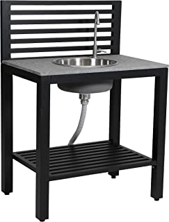 RTS Companies Inc 555400100B8000 Aluminum Outdoor Kitchen Sink with Granite Counter Top, Matte Black
